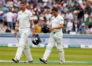 26 July 2019; Ireland's last two batsman Boyd Rankin, left, and Tim Murtagh leave the field after their team's defeat following day three of the Specsavers Test Match between Ireland and England at Lords Cricket Ground in London, England. Photo by Matt Impey/Sportsfile
