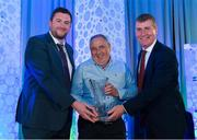 26 July 2019; Damien Jameson, Ashbourne United FC, Meath, is presented with his John Sherlock Services to Football award by Adrian Sherlock, son of John Sherlock, and Republic of Ireland U21 manager Stephen Kenny during the FAI Delegates Dinner and Communications Awards at Knightsbrook Hotel in Trim, Meath. Photo by Seb Daly/Sportsfile