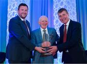 26 July 2019; Tom O'Hara, Wexford Celtic FC, Wexford, is presented with his John Sherlock Services to Football award by Adrian Sherlock, son of John Sherlock, and Republic of Ireland U21 manager Stephen Kenny during the FAI Delegates Dinner and Communications Awards at Knightsbrook Hotel in Trim, Meath. Photo by Seb Daly/Sportsfile
