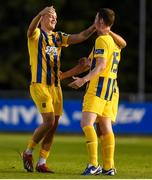 26 July 2019; Michael O'Connor, left, of Waterford celebrates with teammate Dean Walsh following the SSE Airtricity League Premier Division match between UCD and Waterford at UCD Bowl in Belfield, Dublin. Photo by Ben McShane/Sportsfile