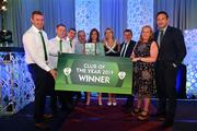 26 July 2019; Colemanstown United FC representatives are presented with the FAI Club of the Year award by FAI President Donal Conway and FAI General Manager Noel Mooney during the FAI Delegates Dinner and Communications Awards at Knightsbrook Hotel in Trim, Meath. Photo by Seb Daly/Sportsfile