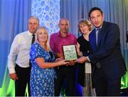 26 July 2019; Members of Enfield Celtic FC are presented with the Service to Football -Club Merit award by FAI General Manager Noel Mooney during the FAI Delegates Dinner and Communications Awards at Knightsbrook Hotel in Trim, Meath. Photo by Seb Daly/Sportsfile
