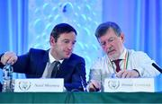 27 July 2019; FAI General Manager Noel Mooney, left, and FAI President Donal Conway during the Football Association of Ireland Annual General Meeting at Knightsbrook Hotel in Trim, Co Meath. Photo by Brendan Moran/Sportsfile