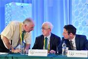 27 July 2019; In attendance at the Football Association of Ireland Annual General Meeting are, from left, Paraic Treanor, Chairman of Legal & Corporate Affairs Committee, Jim McConnell, Chairman of the Domestic Committee, and FAI General Manager Noel Mooney at Knightsbrook Hotel in Trim, Co Meath. Photo by Brendan Moran/Sportsfile