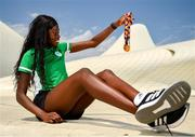 27 July 2019; Rhasidat Adeleke of Ireland poses for a portrait with her 100m Gold medal and her 200m gold medal in front of the Heydar Aliyev Center in Baku during Day Six of the 2019 Summer European Youth Olympic Festival in Baku, Azerbaijan. Photo by Eóin Noonan/Sportsfile