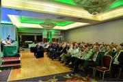 27 July 2019; A general view of the attendance as FAI General Manager Noel Mooney addresses the members during the FAI AGM at Knightsbrook Hotel in Trim, Meath. Photo by Brendan Moran/Sportsfile