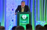 27 July 2019; Newly elected FAI Vice President Paul Cooke addresses the members during the FAI AGM at Knightsbrook Hotel in Trim, Meath. Photo by Brendan Moran/Sportsfile