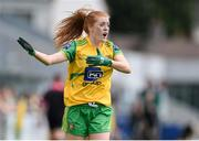 27 July 2019; Deirdre Foley of Donegal reacts during the TG4 All-Ireland Ladies Football Senior Championship Group 4 Round 3 match between Donegal and Mayo at Bord Na Mona O'Connor Park in Tullamore, Offaly. Photo by Ben McShane/Sportsfile