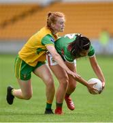 27 July 2019; Rachel Kearns of Mayo in action against Evelyn McGinley of Donegal during the TG4 All-Ireland Ladies Football Senior Championship Group 4 Round 3 match between Donegal and Mayo at Bord Na Mona O'Connor Park in Tullamore, Offaly. Photo by Ben McShane/Sportsfile