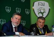 27 July 2019; FAI President Donal Conway, left, in the company of newly elected FAI Vice President Paul Cooke, speaking during a press conference after the FAI AGM at Knightsbrook Hotel in Trim, Meath. Photo by Brendan Moran/Sportsfile