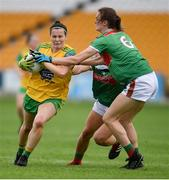 27 July 2019; Geraldine McLaughlin of Donegal in action against Ciara McManamon, 6, and Danielle Caldwell of Mayo during the TG4 All-Ireland Ladies Football Senior Championship Group 4 Round 3 match between Donegal and Mayo at Bord Na Mona O'Connor Park in Tullamore, Offaly. Photo by Ben McShane/Sportsfile