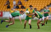 27 July 2019; Geraldine McLaughlin of Donegal in action against Ciara Whyte, left, and Danielle Caldwell of Mayo during the TG4 All-Ireland Ladies Football Senior Championship Group 4 Round 3 match between Donegal and Mayo at Bord Na Mona O'Connor Park in Tullamore, Offaly. Photo by Ben McShane/Sportsfile