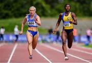 27 July 2019; Molly Scott of St. Laurence O'Toole A.C., Co. Carlow, left, and Gina Akpe-Moses of Blackrock A.C., Co. Louth,  competing in the Women's 100m Heats during day one of the Irish Life Health National Senior Track & Field Championships at Morton Stadium in Santry, Dublin. Photo by Sam Barnes/Sportsfile
