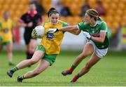 27 July 2019; Geraldine McLaughlin of Donegal in action against Danielle Caldwell of Mayo during the TG4 All-Ireland Ladies Football Senior Championship Group 4 Round 3 match between Donegal and Mayo at Bord Na Mona O'Connor Park in Tullamore, Offaly. Photo by Ben McShane/Sportsfile