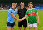 27 July 2019; Referee Paul Faloon with captains Alex Rogers of Dublin and Aidan Cosgrove of Mayo prior to the Electric Ireland GAA Football All-Ireland Minor Championship Quarter-Final match between Mayo and Dublin at Glennon Brothers Pearse Park in Longford. Photo by Seb Daly/Sportsfile