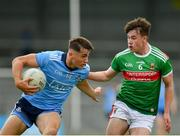 27 July 2019; Luke Swan of Dublin in action against Ruairí Keane of Mayo during the Electric Ireland GAA Football All-Ireland Minor Championship Quarter-Final match between Mayo and Dublin at Glennon Brothers Pearse Park in Longford. Photo by Seb Daly/Sportsfile