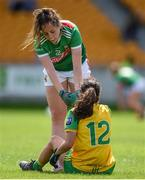 27 July 2019; Emma Needham of Mayo consoles Amy Boyle Carr of Donegal following the TG4 All-Ireland Ladies Football Senior Championship Group 4 Round 3 match between Donegal and Mayo at Bord Na Mona O'Connor Park in Tullamore, Offaly. Photo by Ben McShane/Sportsfile