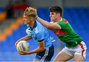 27 July 2019; Alex Rogers of Dublin in action against Alfie Morrison of Mayo during the Electric Ireland GAA Football All-Ireland Minor Championship Quarter-Final match between Mayo and Dublin at Glennon Brothers Pearse Park in Longford. Photo by Seb Daly/Sportsfile