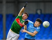 27 July 2019; Ray Walsh of Mayo in action against Oran Farrell of Dublin during the Electric Ireland GAA Football All-Ireland Minor Championship Quarter-Final match between Mayo and Dublin at Glennon Brothers Pearse Park in Longford. Photo by Seb Daly/Sportsfile