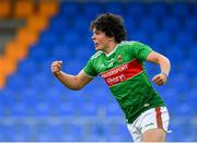 27 July 2019; Rory Morrin of Mayo celebrates after scoring his side's fifth goal of the game during the Electric Ireland GAA Football All-Ireland Minor Championship Quarter-Final match between Mayo and Dublin at Glennon Brothers Pearse Park in Longford. Photo by Seb Daly/Sportsfile