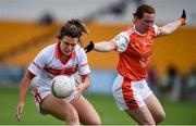 27 July 2019; Doireannn O'Sullivan of Cork in action against Caoimhe Morgan of Armagh during the TG4 All-Ireland Ladies Football Senior Championship Group 1 Round 3 match between Armagh and Cork at Bord Na Mona O'Connor Park in Tullamore, Offaly. Photo by Ben McShane/Sportsfile