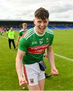 27 July 2019; Ray Walsh of Mayo celebrates following his side's victory during the Electric Ireland GAA Football All-Ireland Minor Championship Quarter-Final match between Mayo and Dublin at Glennon Brothers Pearse Park in Longford. Photo by Seb Daly/Sportsfile