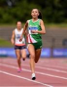 27 July 2019; Davicia Patterson of Beechmount Harriers A.C., Co. Antrim, on her way to winning her Women's 200m heat during day one of the Irish Life Health National Senior Track & Field Championships at Morton Stadium in Santry, Dublin. Photo by Sam Barnes/Sportsfile