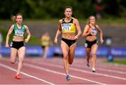 27 July 2019; Phil Healy of Bandon A.C., Co. Cork, on her way to winning her Women's 200m heats during day one of the Irish Life Health National Senior Track & Field Championships at Morton Stadium in Santry, Dublin. Photo by Sam Barnes/Sportsfile