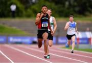 27 July 2019; Leon Reid of Menapians A.C., Co. Wexford, centre, on his way to winning his Men's 200m heat during day one of the Irish Life Health National Senior Track & Field Championships at Morton Stadium in Santry, Dublin. Photo by Sam Barnes/Sportsfile