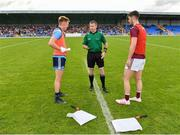 27 July 2019; Referee Pádraig Hughes with captains Kieran Kennedy of Dublin and Seán Mulkerrin of Galway during the coin toss prior to the Galway EirGrid GAA Football All-Ireland U20 Championship Semi-Final match between Galway and Dublin at Glennon Brothers Pearse Park in Longford. Photo by Seb Daly/Sportsfile