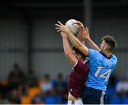 27 July 2019; Ciarán Archer of Dublin in action against Seán Mulkerrin of Galway during the EirGrid GAA Football All-Ireland U20 Championship Semi-Final match between Galway and Dublin at Glennon Brothers Pearse Park in Longford. Photo by Seb Daly/Sportsfile