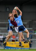 27 July 2019; Peadar Ó Cofaigh Byrne, left, and Donal Ryan of Dublin in action against Matthew Tierney of Galway during the EirGrid GAA Football All-Ireland U20 Championship Semi-Final match between Galway and Dublin at Glennon Brothers Pearse Park in Longford. Photo by Seb Daly/Sportsfile