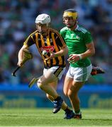 27 July 2019; Timmy Clifford of Kilkenny in action against Colin Coughlan of Limerick during the Electric Ireland GAA Hurling All-Ireland Minor Championship Semi-Final match between Kilkenny and Limerick at Croke Park in Dublin. Photo by Piaras Ó Mídheach/Sportsfile