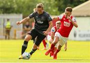 27 July 2019; John Mountney of Dundalk in action against Darragh Markey of St Patrick's Athletic during the SSE Airtricity League Premier Division match between St Patrick's Athletic and Dundalk at Richmond Park in Dublin. Photo by Michael P Ryan/Sportsfile