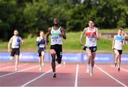 27 July 2019; Brandon Arrey of Raheny Shamrock A.C., Co. Dublin, left, and Cillin Greene of Galway City Harriers A.C., Co. Galway, competing in the Men's 200m heats during day one of the Irish Life Health National Senior Track & Field Championships at Morton Stadium in Santry, Dublin. Photo by Sam Barnes/Sportsfile