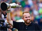 27 July 2019; The 2019 Open champion, Shane Lowry, with the Claret Jug prior to the GAA Hurling All-Ireland Senior Championship Semi-Final match between Kilkenny and Limerick at Croke Park in Dublin. Photo by Ray McManus/Sportsfile