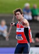 27 July 2019; Fergus Cox of Lifford Strabane A.C., Co. Donegal, competing in the Men's Javelin during day one of the Irish Life Health National Senior Track & Field Championships at Morton Stadium in Santry, Dublin. Photo by Sam Barnes/Sportsfile
