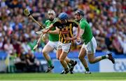 27 July 2019; John Donnelly of Kilkenny in action against Cian Lynch, left, and Declan Hannon of Limerick during the GAA Hurling All-Ireland Senior Championship Semi-Final match between Kilkenny and Limerick at Croke Park in Dublin. Photo by Piaras Ó Mídheach/Sportsfile