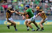 27 July 2019; Mike Casey of Limerick in action against Kilkenny players, from left, TJ Reid, Richie Leahy, and Colin Fennelly during the GAA Hurling All-Ireland Senior Championship Semi-Final match between Kilkenny and Limerick at Croke Park in Dublin. Photo by Piaras Ó Mídheach/Sportsfile