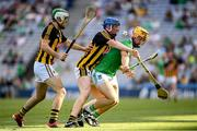 27 July 2019; Tom Morrissey of Limerick in action against Paddy Deegan, left, and John Donnelly of Kilkenny during the GAA Hurling All-Ireland Senior Championship Semi-Final match between Kilkenny and Limerick at Croke Park in Dublin. Photo by Ramsey Cardy/Sportsfile