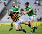 27 July 2019; TJ Reid of Kilkenny in action against Peter Casey of Limerick during the GAA Hurling All-Ireland Senior Championship Semi-Final match between Kilkenny and Limerick at Croke Park in Dublin. Photo by Ramsey Cardy/Sportsfile
