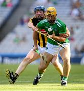 27 July 2019; Tom Morrissey of Limerick in action against John Donnelly of Kilkenny during the GAA Hurling All-Ireland Senior Championship Semi-Final match between Kilkenny and Limerick at Croke Park in Dublin. Photo by Ramsey Cardy/Sportsfile