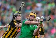 27 July 2019; Tom Morrissey of Limerick in action against Walter Walsh of Kilkenny during the GAA Hurling All-Ireland Senior Championship Semi-Final match between Kilkenny and Limerick at Croke Park in Dublin. Photo by Ramsey Cardy/Sportsfile