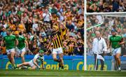 27 July 2019; Colin Fennelly of Kilkenny celebrates after scoring his side's first goal during the GAA Hurling All-Ireland Senior Championship Semi-Final match between Kilkenny and Limerick at Croke Park in Dublin. Photo by David Fitzgerald/Sportsfile
