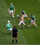 27 July 2019; TJ Reid of Kilkenny in action against Limerick players, left to right, Kyle Hayes, Cian Lynch, Gearoid Hegarty, and Diarmaid Byrnes during the GAA Hurling All-Ireland Senior Championship Semi-Final match between Kilkenny and Limerick at Croke Park in Dublin. Photo by Daire Brennan/Sportsfile