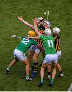 27 July 2019; TJ Reid of Kilkenny in action against Limerick players, left to right, Tom Morrissey, Cian Lynch, and Kyle Hayes during the GAA Hurling All-Ireland Senior Championship Semi-Final match between Kilkenny and Limerick at Croke Park in Dublin. Photo by Daire Brennan/Sportsfile