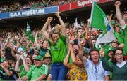 27 July 2019; Limerick fans celebrate their side's first goal scored by Aaron Gillane during the GAA Hurling All-Ireland Senior Championship Semi-Final match between Kilkenny and Limerick at Croke Park in Dublin. Photo by David Fitzgerald/Sportsfile