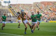 27 July 2019; TJ Reid of Kilkenny in action against Kyle Hayes of Limerick during the GAA Hurling All-Ireland Senior Championship Semi-Final match between Kilkenny and Limerick at Croke Park in Dublin. Photo by David Fitzgerald/Sportsfile