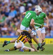 27 July 2019; TJ Reid of Kilkenny in action against Kyle Hayes of Limerick during the GAA Hurling All-Ireland Senior Championship Semi-Final match between Kilkenny and Limerick at Croke Park in Dublin. Photo by Ramsey Cardy/Sportsfile