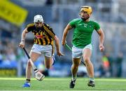 27 July 2019; Tom Morrissey of Limerick gets away from Conor Fogarty of Kilkenny during the GAA Hurling All-Ireland Senior Championship Semi-Final match between Kilkenny and Limerick at Croke Park in Dublin. Photo by Piaras Ó Mídheach/Sportsfile